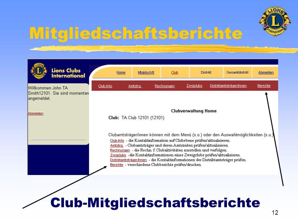 12 Mitgliedschaftsberichte Club-Mitgliedschaftsberichte