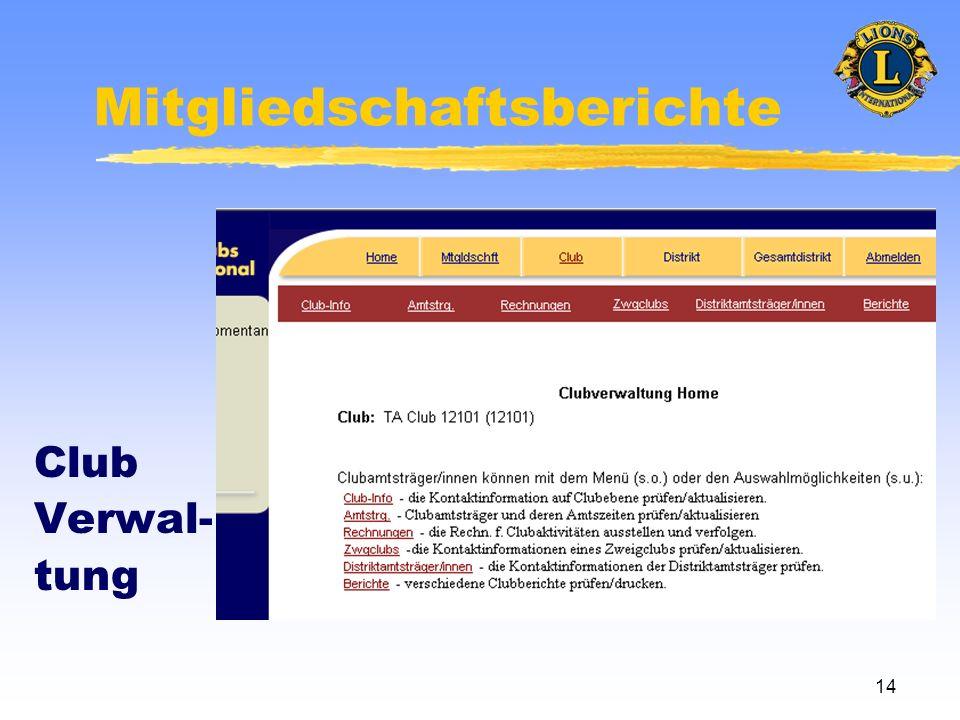 14 Mitgliedschaftsberichte Club Verwal- tung
