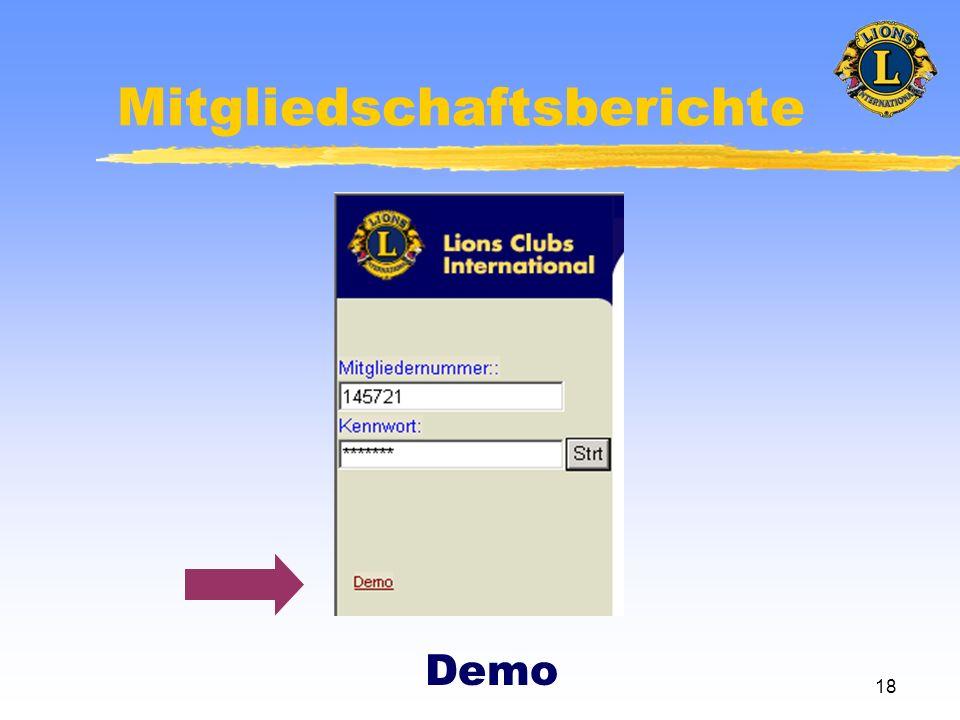 18 Mitgliedschaftsberichte Demo