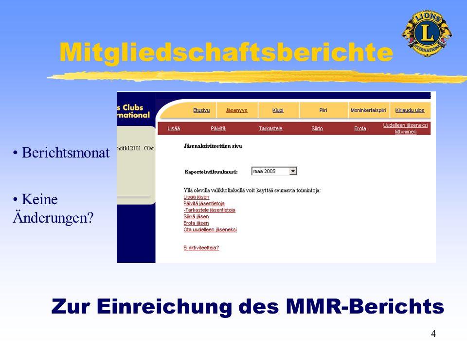 4 Mitgliedschaftsberichte Zur Einreichung des MMR-Berichts Berichtsmonat Keine Änderungen