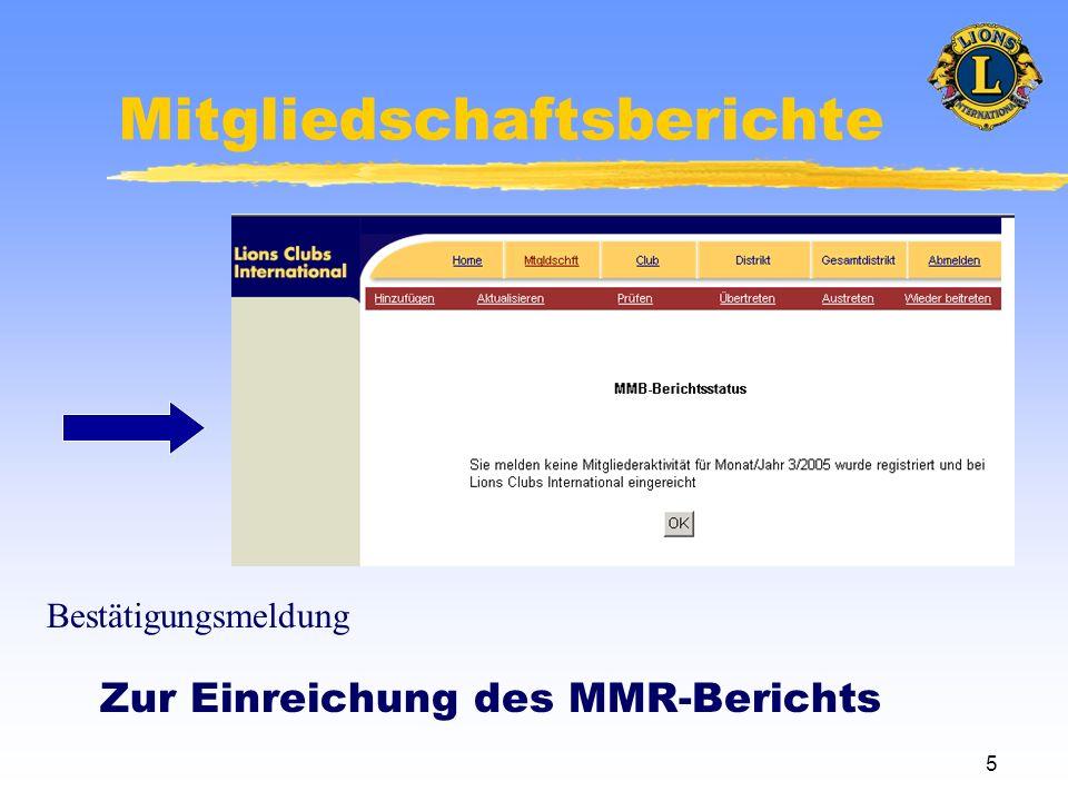 5 Mitgliedschaftsberichte Zur Einreichung des MMR-Berichts Bestätigungsmeldung