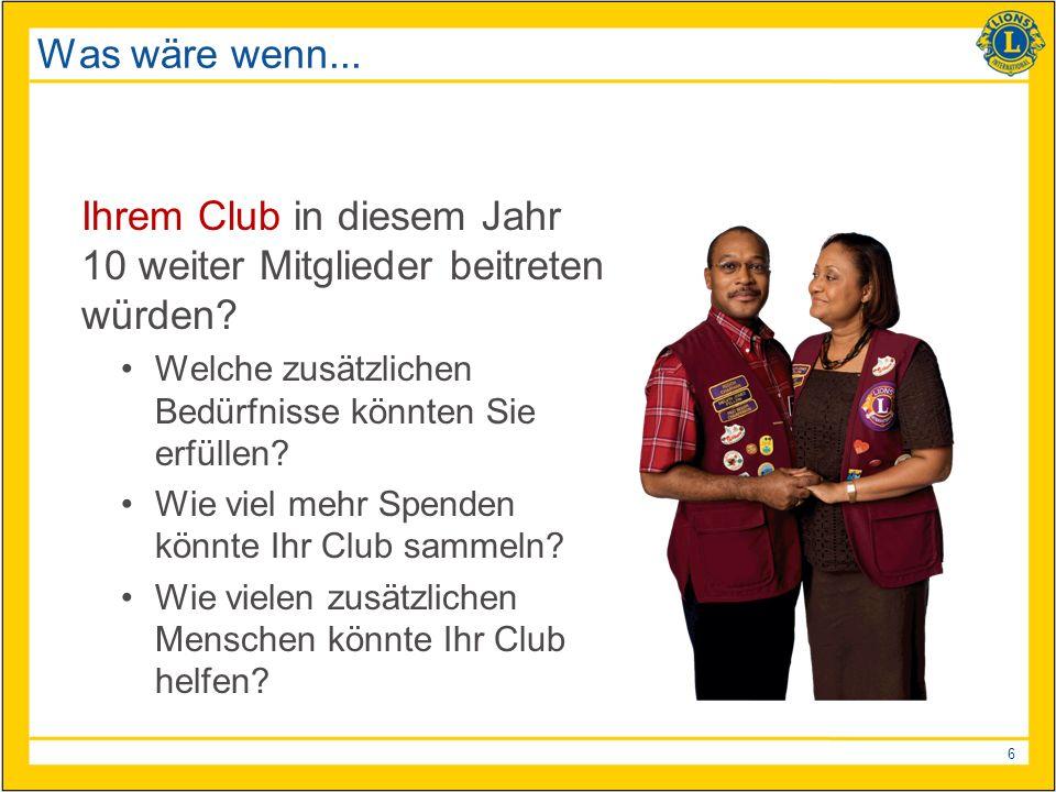 6 Was wäre wenn... Ihrem Club in diesem Jahr 10 weiter Mitglieder beitreten würden.