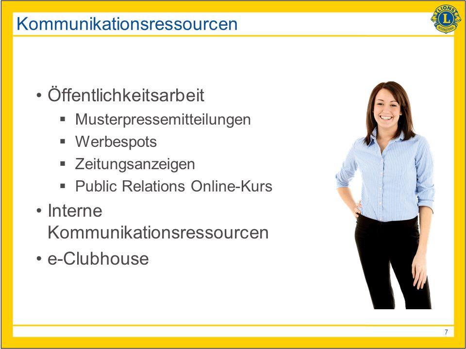 7 Kommunikationsressourcen Öffentlichkeitsarbeit Musterpressemitteilungen Werbespots Zeitungsanzeigen Public Relations Online-Kurs Interne Kommunikationsressourcen e-Clubhouse