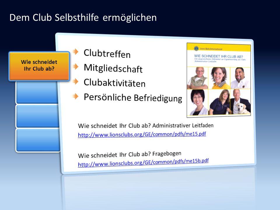 Dem Club Selbsthilfe ermöglichen Wie schneidet Ihr Club ab?