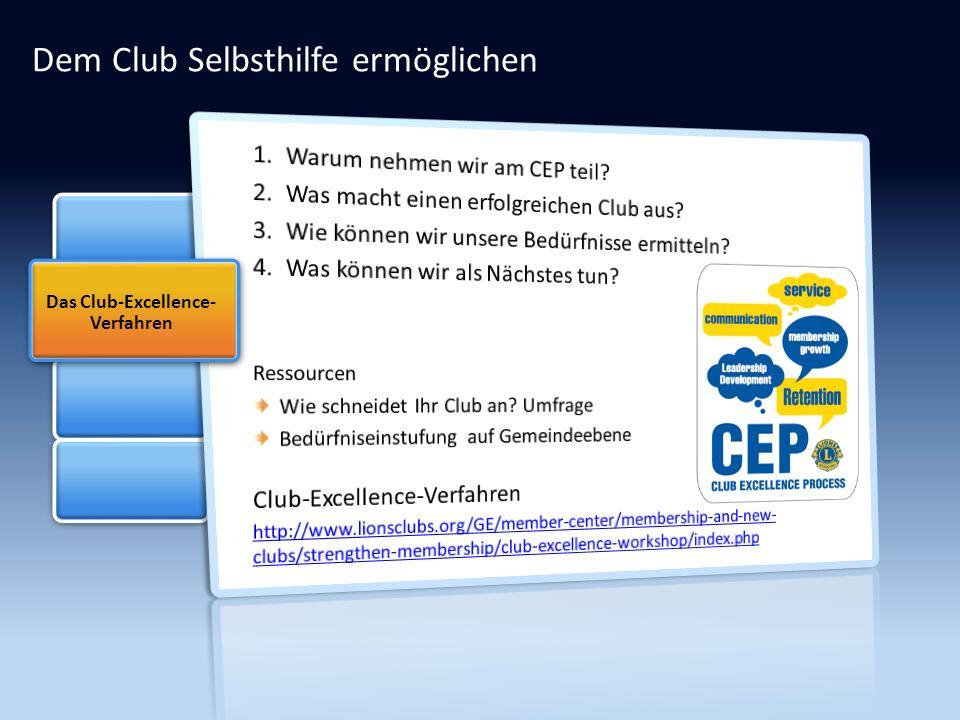 Dem Club Selbsthilfe ermöglichen Das Club-Excellence- Verfahren