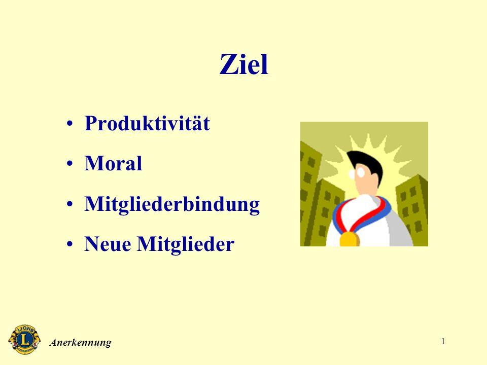 Anerkennung 1 Ziel Produktivität Moral Mitgliederbindung Neue Mitglieder