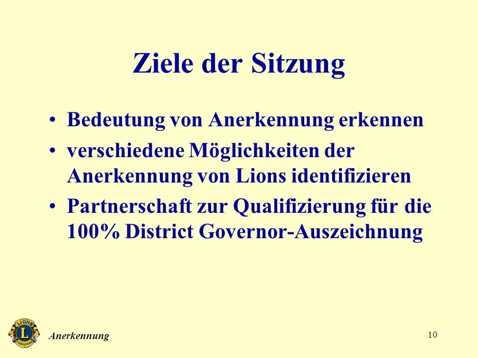 Anerkennung 10 Ziele der Sitzung Bedeutung von Anerkennung erkennen verschiedene Möglichkeiten der Anerkennung von Lions identifizieren Partnerschaft