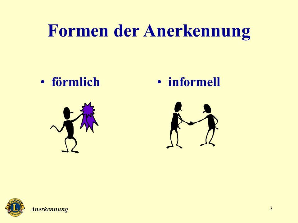 Anerkennung 3 Formen der Anerkennung förmlichinformell