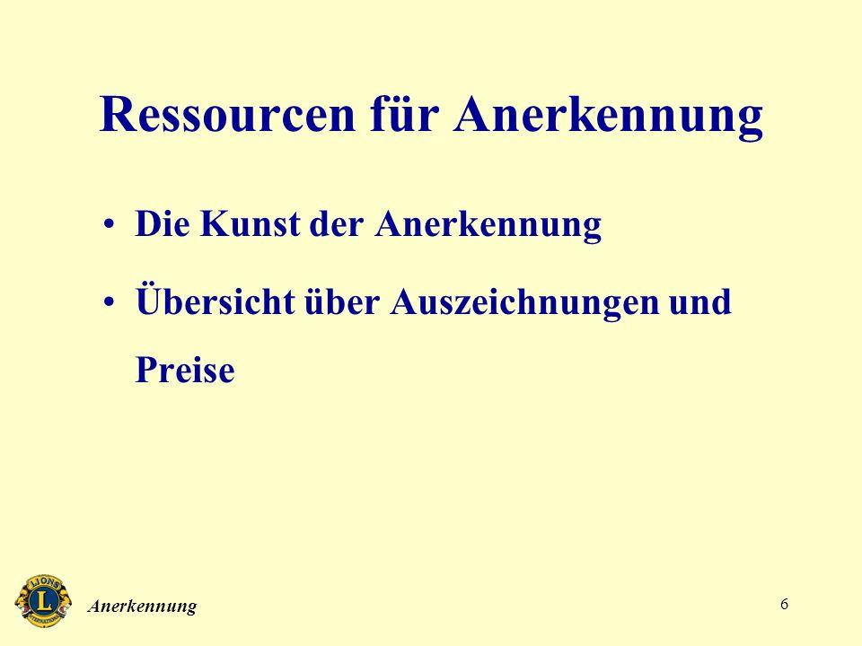 Anerkennung 6 Ressourcen für Anerkennung Die Kunst der Anerkennung Übersicht über Auszeichnungen und Preise