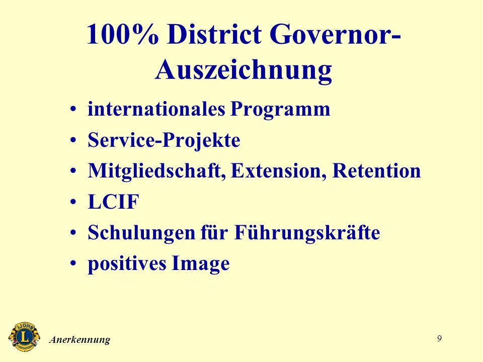Anerkennung 9 100% District Governor- Auszeichnung internationales Programm Service-Projekte Mitgliedschaft, Extension, Retention LCIF Schulungen für