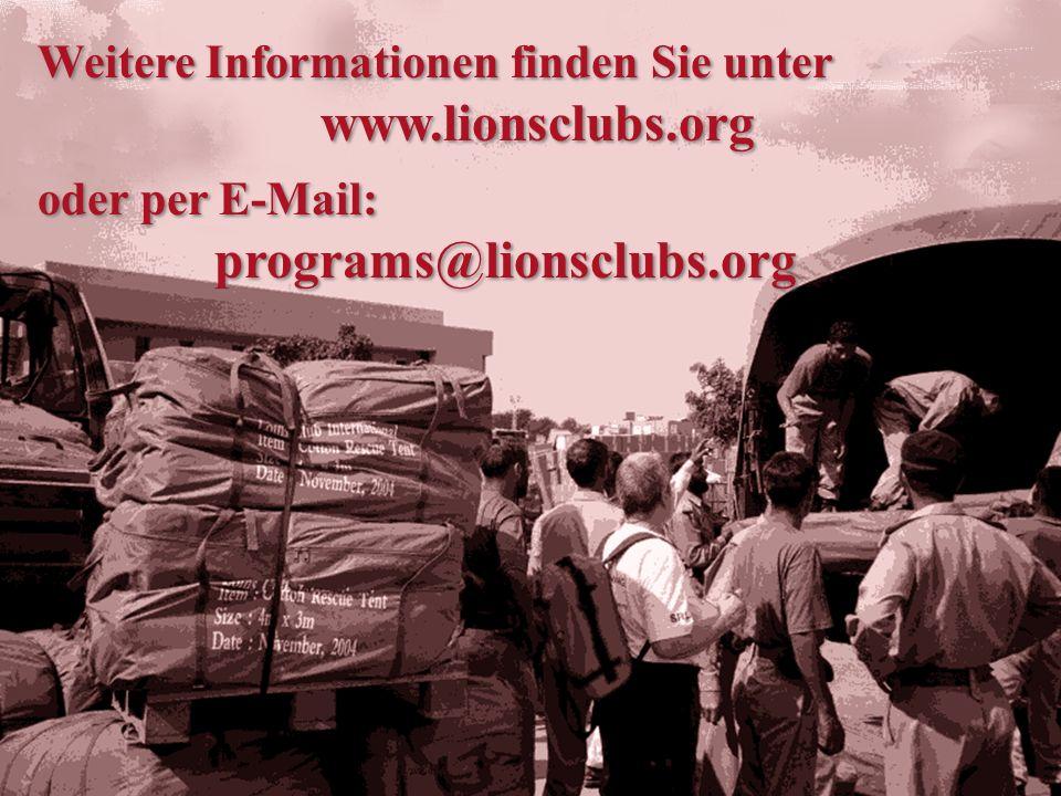 Um Dienste oder Materialien für ein Lions Projekt außerhalb Ihrer Gemeinde anzubieten, besuchen Sie den Abschnitt zu den Lions-Hilfeprogrammen auf der Lions Webseite.