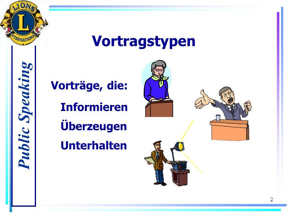 Public Speaking 1 Vorbereitungsschritte 1.Legen Sie den allgemeinen Zweck Ihres Vortrags fest 2.Informieren Sie sich über Ihr Publikum 3.Informieren S