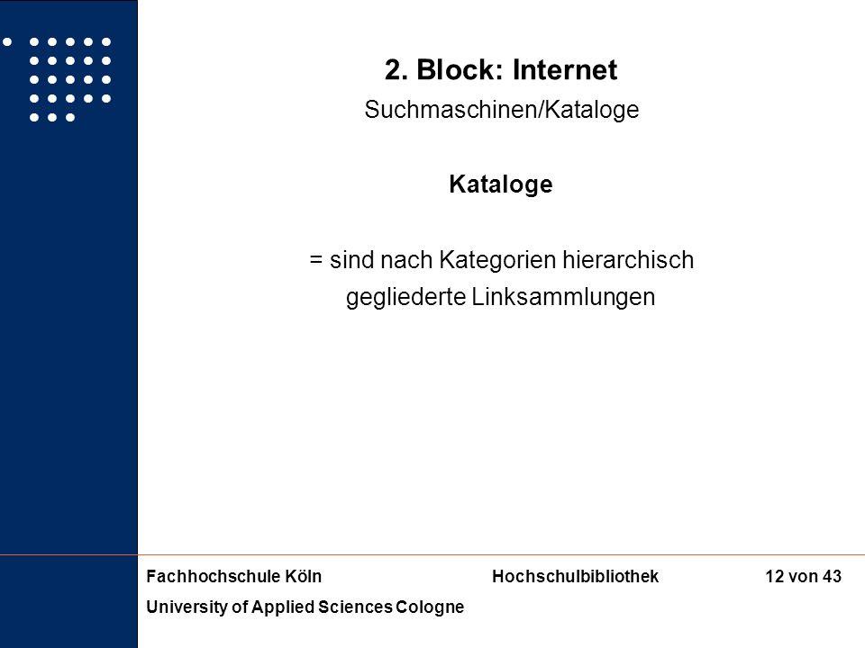 Fachhochschule KölnHochschulbibliothek University of Applied Sciences Cologne 11 von 43 2. Block: Internet Suchmaschinen