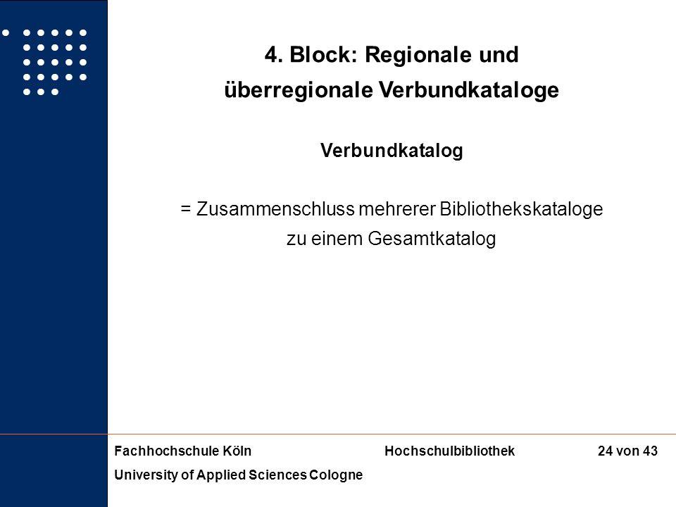 Fachhochschule KölnHochschulbibliothek University of Applied Sciences Cologne 23 von 43 3. Block: Fachdatenbanken Bibliographische Datenbanken Sachgeb