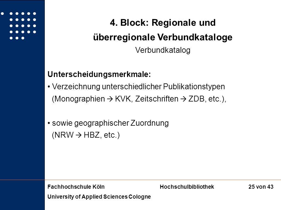 Fachhochschule KölnHochschulbibliothek University of Applied Sciences Cologne 24 von 43 4. Block: Regionale und überregionale Verbundkataloge Verbundk