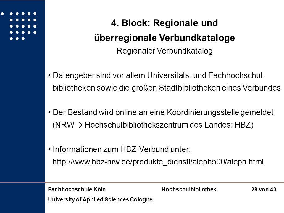 Fachhochschule KölnHochschulbibliothek University of Applied Sciences Cologne 27 von 43 4. Block: Regionale und überregionale Verbundkataloge Regional