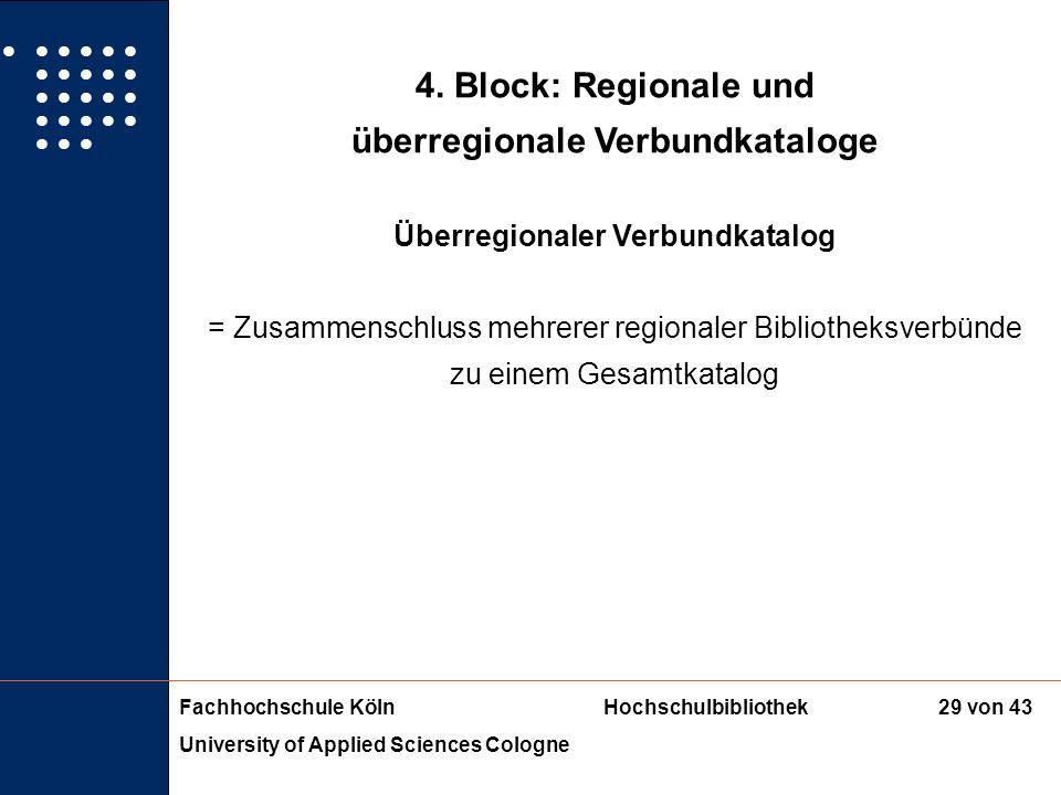 Fachhochschule KölnHochschulbibliothek University of Applied Sciences Cologne 28 von 43 4. Block: Regionale und überregionale Verbundkataloge Regional