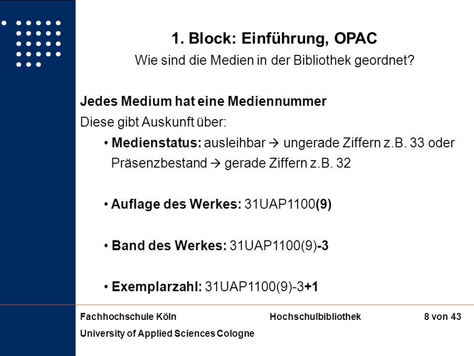 Fachhochschule KölnHochschulbibliothek University of Applied Sciences Cologne 7 von 43 1. Block: Einführung, OPAC Wie sind die Medien in der Bibliothe