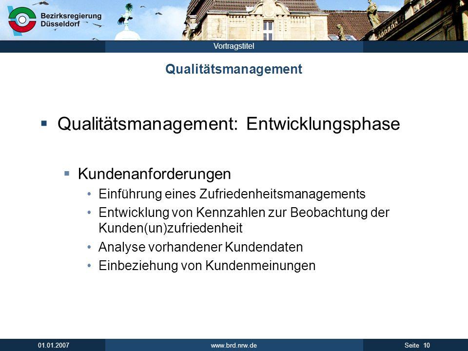 www.brd.nrw.de 10Seite 01.01.2007 Vortragstitel Qualitätsmanagement Qualitätsmanagement: Entwicklungsphase Kundenanforderungen Einführung eines Zufrie