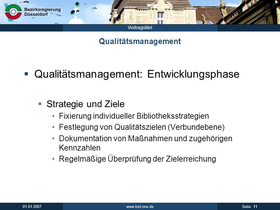 www.brd.nrw.de 11Seite 01.01.2007 Vortragstitel Qualitätsmanagement Qualitätsmanagement: Entwicklungsphase Strategie und Ziele Fixierung individueller