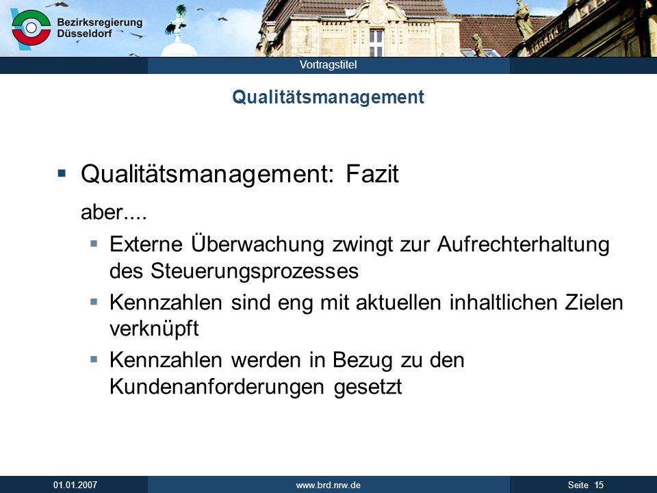 www.brd.nrw.de 15Seite 01.01.2007 Vortragstitel Qualitätsmanagement Qualitätsmanagement: Fazit aber.... Externe Überwachung zwingt zur Aufrechterhaltu