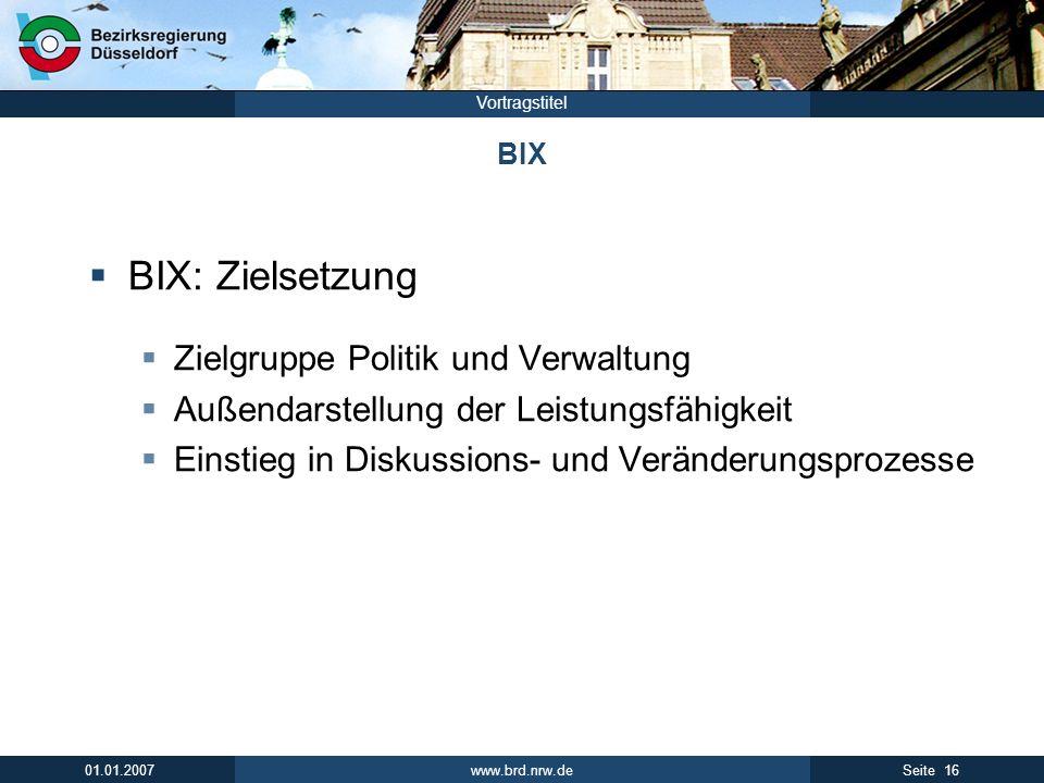 www.brd.nrw.de 16Seite 01.01.2007 Vortragstitel BIX BIX: Zielsetzung Zielgruppe Politik und Verwaltung Außendarstellung der Leistungsfähigkeit Einstieg in Diskussions- und Veränderungsprozesse