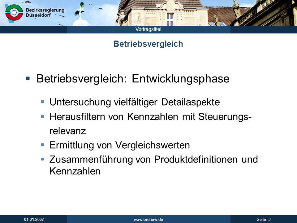 www.brd.nrw.de 3Seite 01.01.2007 Vortragstitel Betriebsvergleich Betriebsvergleich: Entwicklungsphase Untersuchung vielfältiger Detailaspekte Herausfi