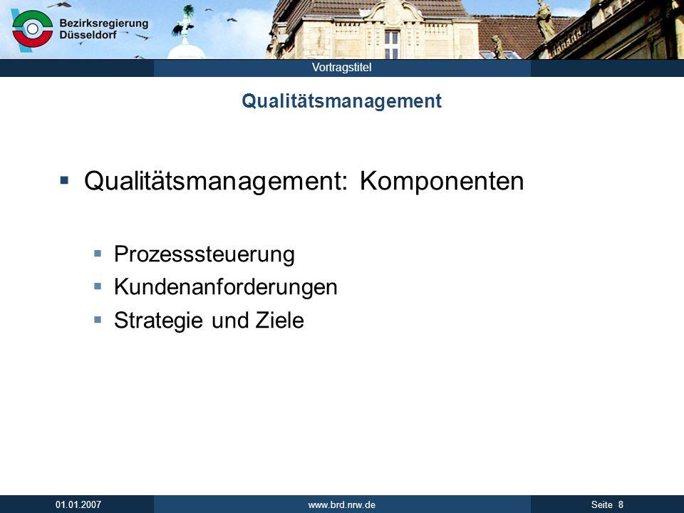 www.brd.nrw.de 8Seite 01.01.2007 Vortragstitel Qualitätsmanagement Qualitätsmanagement: Komponenten Prozesssteuerung Kundenanforderungen Strategie und
