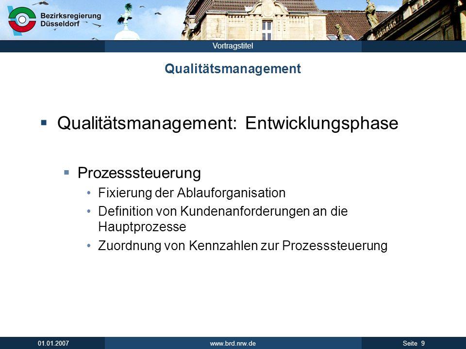 www.brd.nrw.de 9Seite 01.01.2007 Vortragstitel Qualitätsmanagement Qualitätsmanagement: Entwicklungsphase Prozesssteuerung Fixierung der Ablauforganis