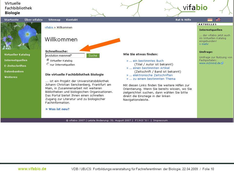 Gerwin Kasperek: Die Virtuelle Fachbibliothek Biologie (vifabio) – Konzept und Umsetzung www.vifabio.de VDB / UBJCS: Fortbildungsveranstaltung für Fac