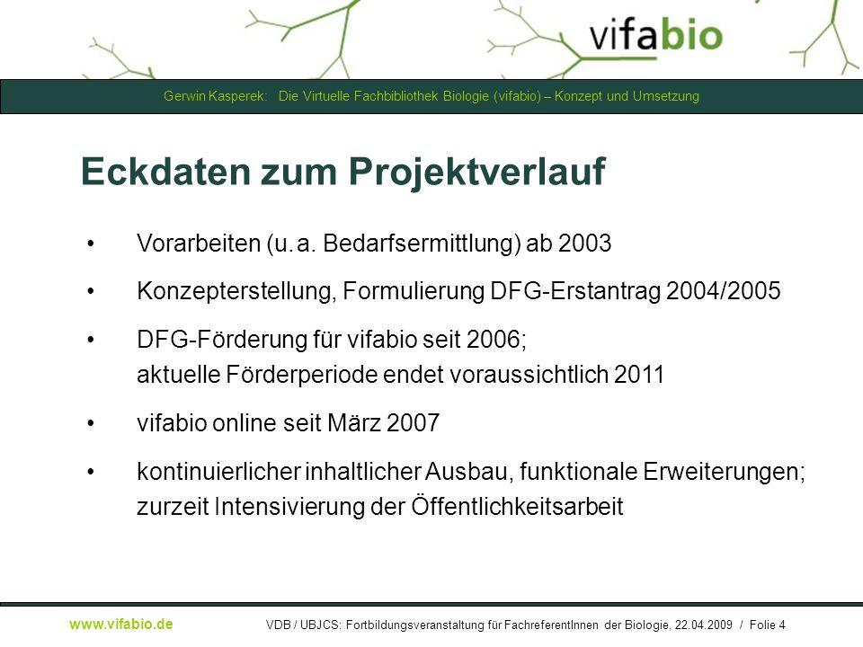 Gerwin Kasperek: Die Virtuelle Fachbibliothek Biologie (vifabio) – Konzept und Umsetzung www.vifabio.de VDB / UBJCS: Fortbildungsveranstaltung für FachreferentInnen der Biologie, 22.04.2009 / Folie 25 [ Bildschirmfoto: ] Datenbanken: Intro...