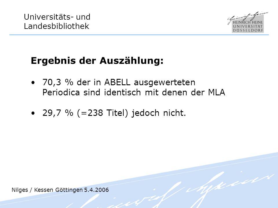 Universitäts- und Landesbibliothek Ergebnis der Auszählung: 70,3 % der in ABELL ausgewerteten Periodica sind identisch mit denen der MLA 29,7 % (=238