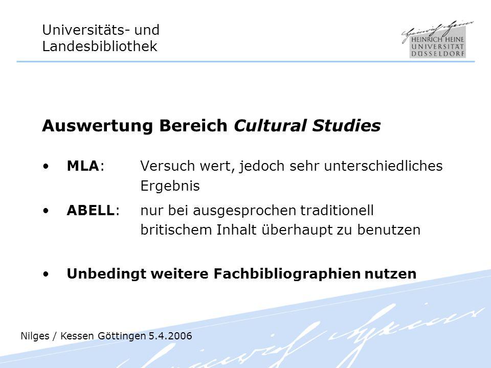 Universitäts- und Landesbibliothek Auswertung Bereich Cultural Studies MLA: Versuch wert, jedoch sehr unterschiedliches Ergebnis ABELL: nur bei ausges