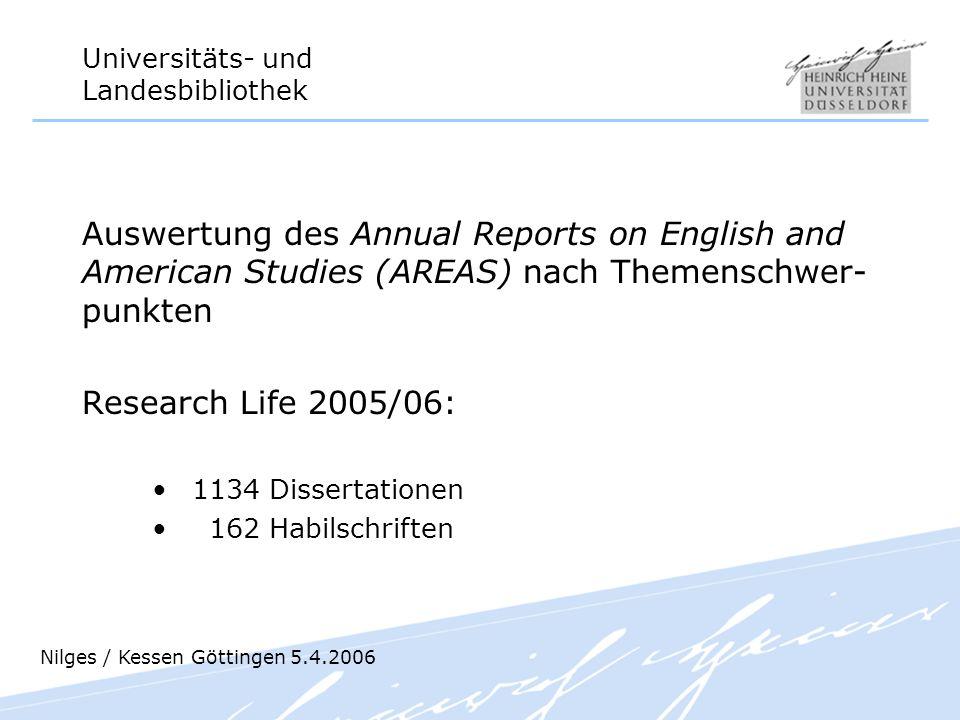 Universitäts- und Landesbibliothek Auswertung des Annual Reports on English and American Studies (AREAS) nach Themenschwer- punkten Research Life 2005