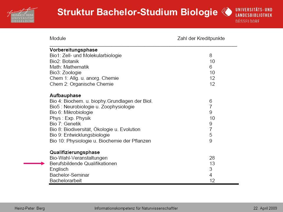 Heinz-Peter Berg Informationskompetenz für Naturwissenschaftler 22. April 2009 Struktur Bachelor-Studium Biologie