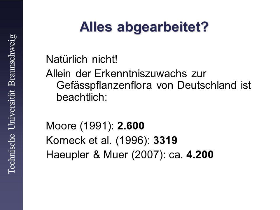 Alles abgearbeitet? Natürlich nicht! Allein der Erkenntniszuwachs zur Gefässpflanzenflora von Deutschland ist beachtlich: Moore (1991): 2.600 Korneck