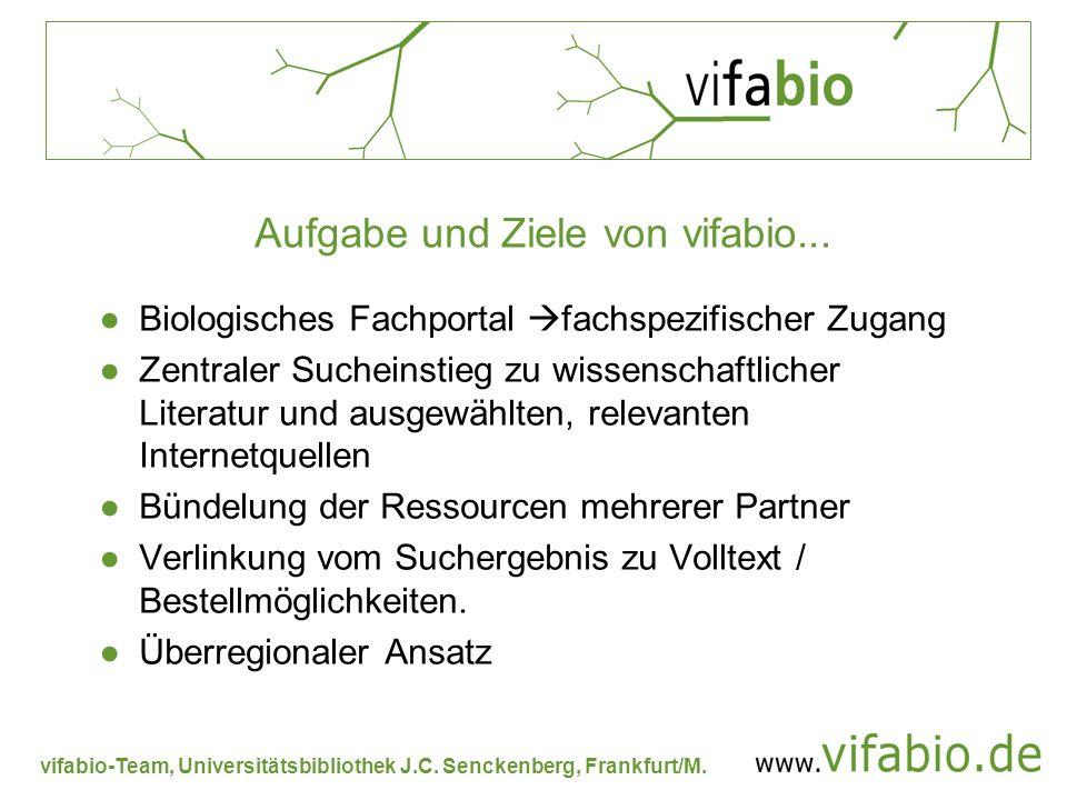 vifabio-Team, Universitätsbibliothek J.C. Senckenberg, Frankfurt/M. Aufgabe und Ziele von vifabio... Biologisches Fachportal fachspezifischer Zugang Z