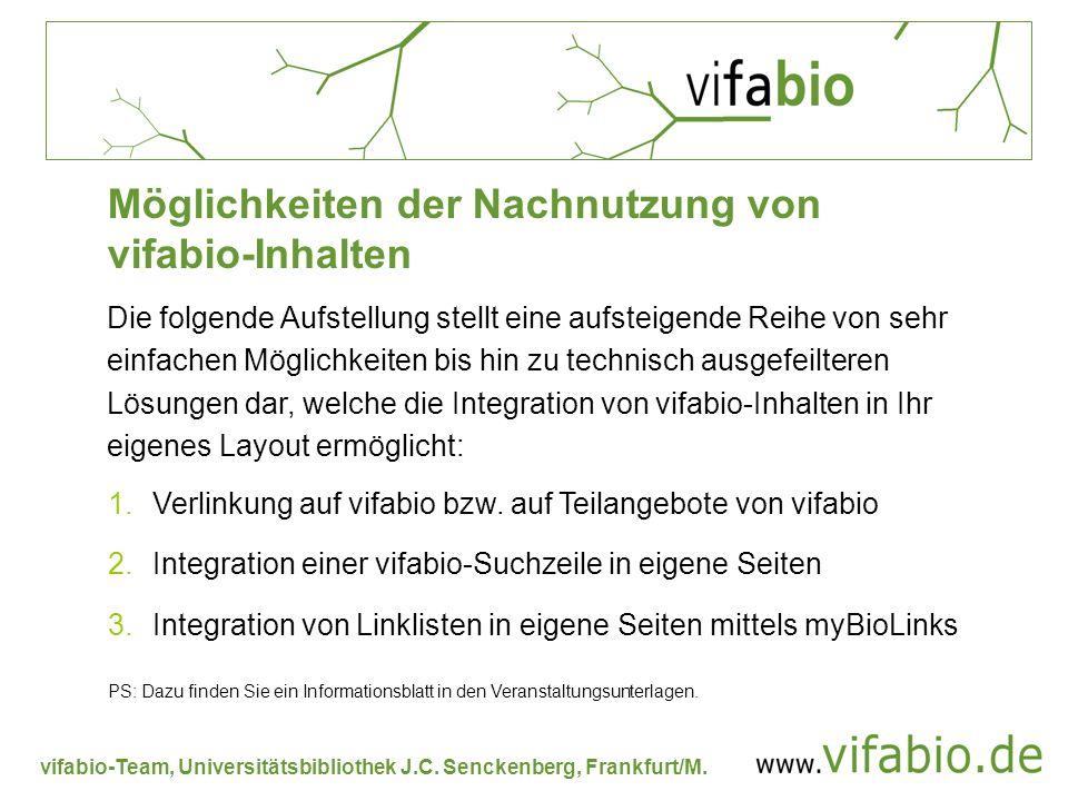 vifabio-Team, Universitätsbibliothek J.C. Senckenberg, Frankfurt/M. Die folgende Aufstellung stellt eine aufsteigende Reihe von sehr einfachen Möglich