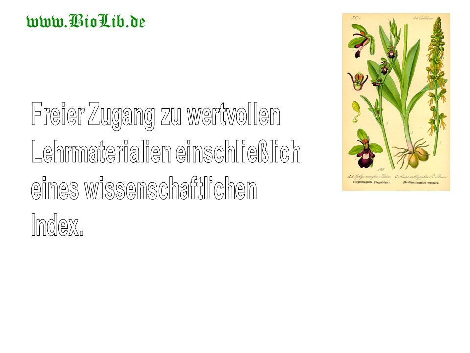 Bilder aus BioLib erscheinen in den Positionen 1, 6 und 8