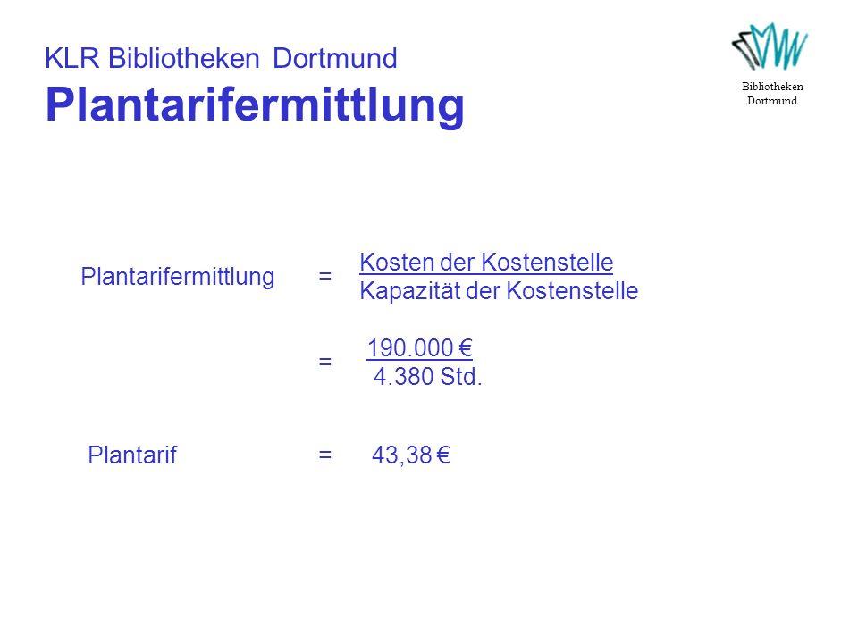 KLR Bibliotheken Dortmund Plantarifermittlung Bibliotheken Dortmund Plantarifermittlung = Kosten der Kostenstelle Kapazität der Kostenstelle = 190.000