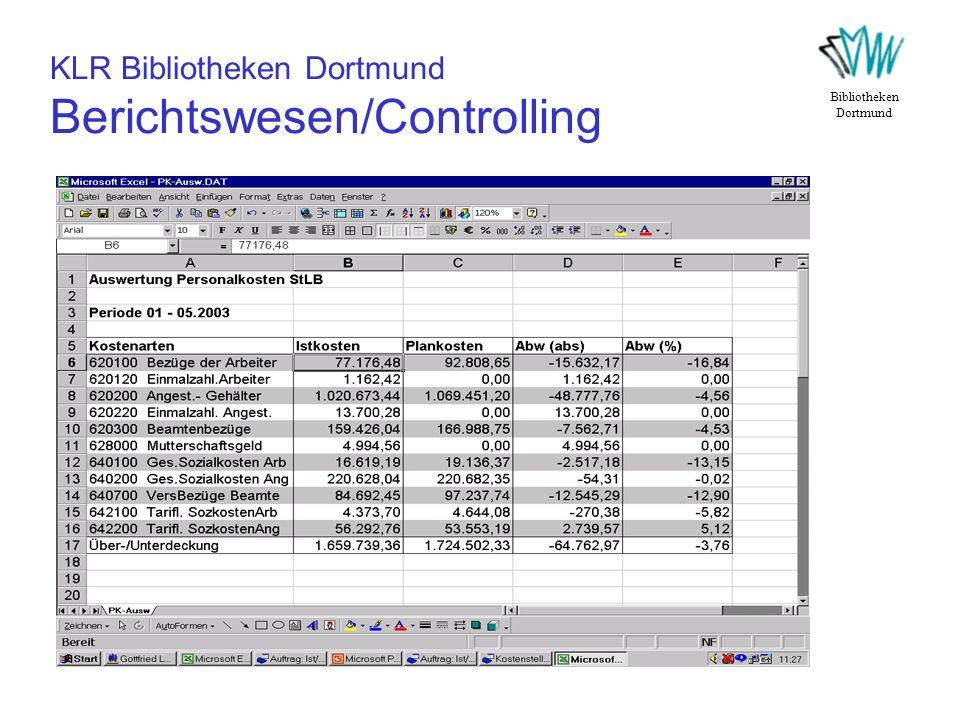 KLR Bibliotheken Dortmund Berichtswesen/Controlling Bibliotheken Dortmund