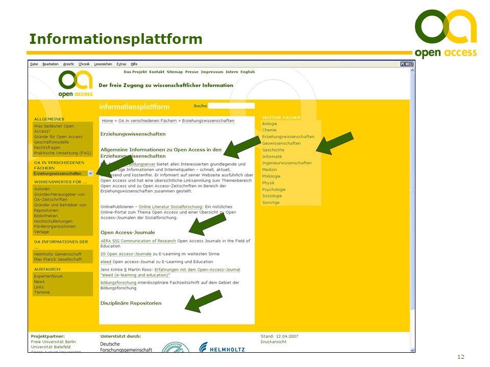 12 Anja Kersting, Bibliothek der Universität Konstanz Informationsplattform