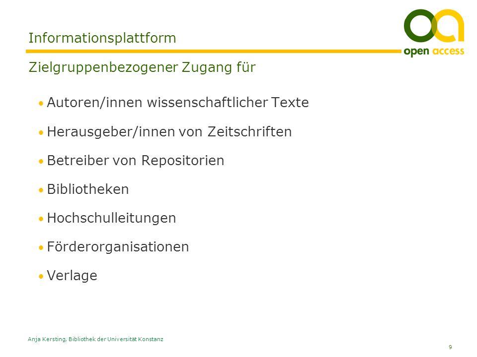 9 Anja Kersting, Bibliothek der Universität Konstanz Informationsplattform Zielgruppenbezogener Zugang für Autoren/innen wissenschaftlicher Texte Hera