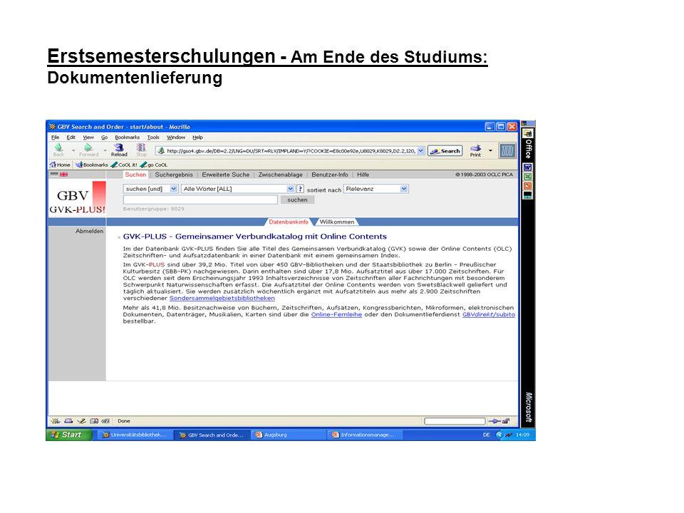 Erstsemesterschulungen - Am Ende des Studiums: Dokumentenlieferung