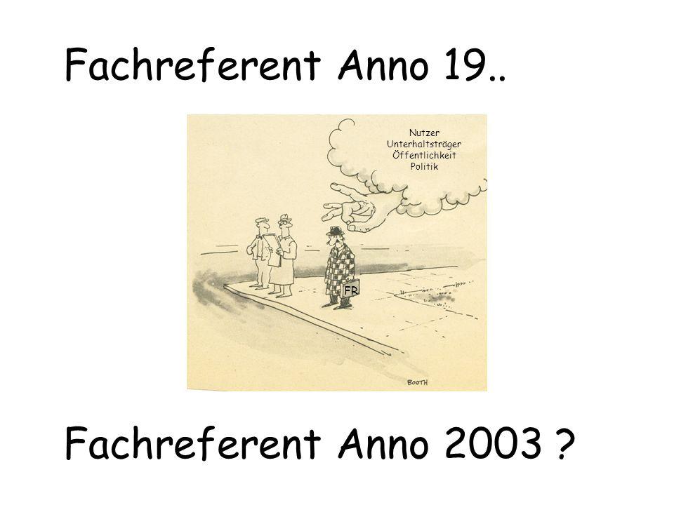 Fachreferent Anno 19.. Fachreferent Anno 2003 ? Nutzer Unterhaltsträger Öffentlichkeit Politik FR