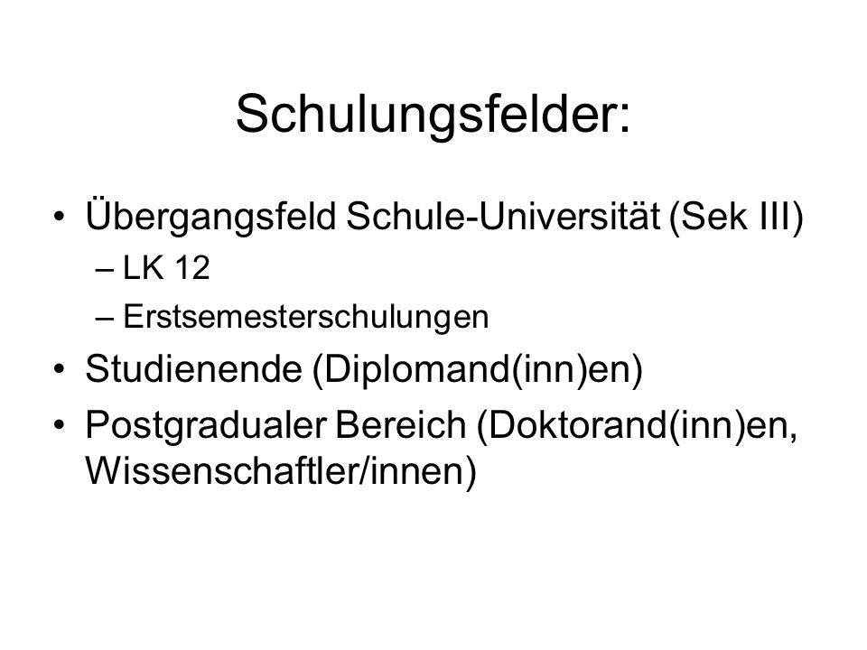 Studienende (Diplomand(inn)en) Seminar Wissenschaftliches Arbeiten für Biologen: Von der Informationssuche bis zur elektronischen Publikation http://www.biblio.tu-bs.de/geobot/wissarb.html