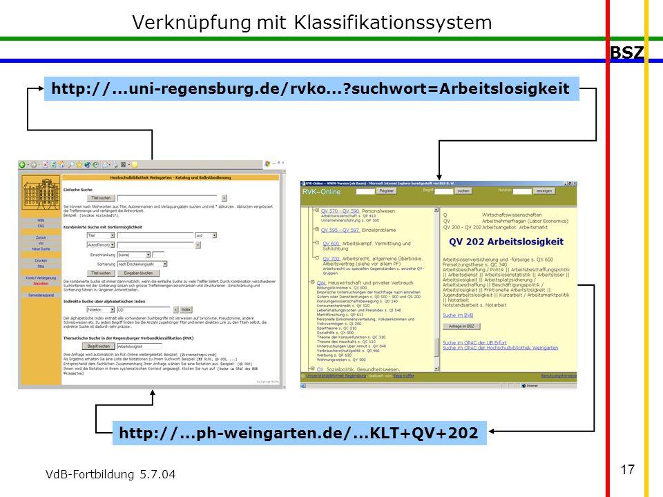 BSZ VdB-Fortbildung 5.7.04 17 Verknüpfung mit Klassifikationssystem http://...uni-regensburg.de/rvko... suchwort=Arbeitslosigkeit http://...ph-weingarten.de/...KLT+QV+202