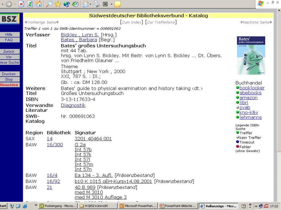 BSZ VdB-Fortbildung 5.7.04 25 Integriertes Bibliothekssystem Zeitsch.