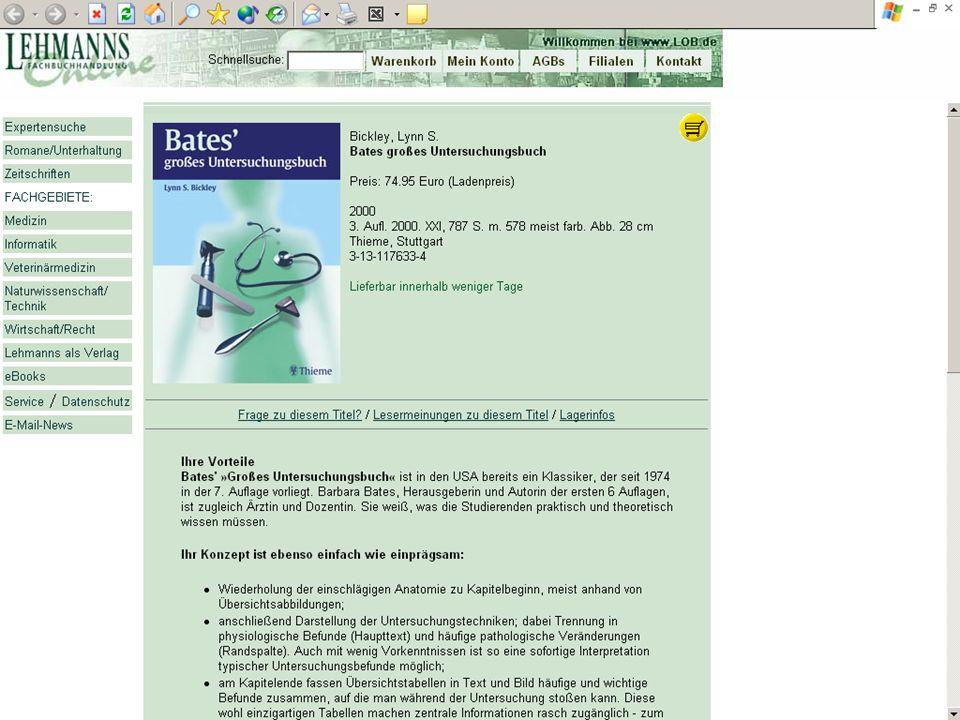 BSZ VdB-Fortbildung 5.7.04 26 Verknüpfen statt Kopieren Die Technik Verknüpfung der Web-Anwendungen URL (RVK, MSC) Kontextabhängige URL (ReDI, Fernleihe) Z39.88 Open URL (ReDI) Online-Zugriff auf Fremd-Datenbanken Z39.50 (ZDB, andere Verbünde) XML-RPC, SOAP (Amazon, DDC deutsch)