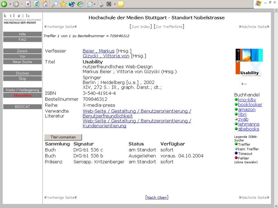 BSZ VdB-Fortbildung 5.7.04 17 Verknüpfung mit Klassifikationssystem http://...uni-regensburg.de/rvko...?suchwort=Arbeitslosigkeit http://...ph-weingarten.de/...KLT+QV+202
